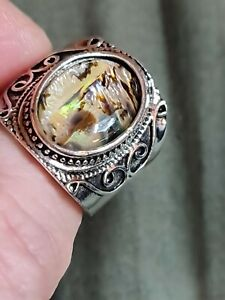 Millionaire men' mother of pearl Opal Style 925 sterling  filled  mens ring 9 us