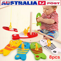 8PCS Wooden Montessori Educational Colorful Fishing Digital Column Kids Toy AU