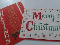 2 Vtg GLITTER Script Letter Art MERRY CHRISTMAS & GREETINGS Mid Century CARDS