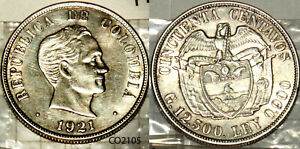 1921 Colombia Silver 50 Centavos Bogota  Key Date Hard To Find AU UnCirculated