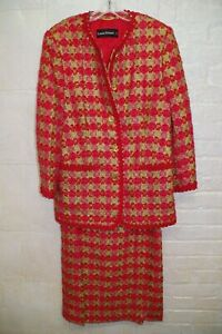 Louis Feraud Mohair Blend Wool Plaid Classic Jacket & Skirt Suit Braided Trim 14