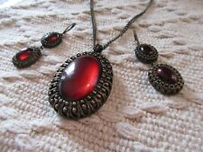 Avon NR Nina Ricci Necklace Earrings Bronze Glowing Large Rust Red Cab Set