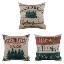 Xmas Pillow Case Cotton Linen Cushion Cover Farmhouse Merry Christmas Tree Decor