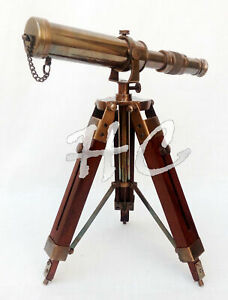Antique Brass Telescope With Wooden Tripod Stand Collectible Desk Decor Nautical