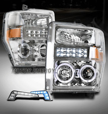 FOR 08-10 FORD F250 SUPERDUTY HALO LED CHROME PROJECTOR HEADLIGHT W/BLUE DRL KIT