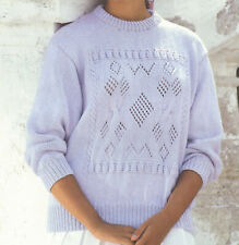 Ladies DK Pretty Patterned Motif Front Sweater Jumper Knitting Pattern