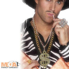 Pimp Dollar Sign Chain Necklace Fancy Dress Adults 80s Gangster Costume Acc