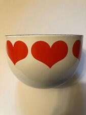 VTG Arabia Finland Heart Enamel Bowl Red White Kaj Franck Finel Enamelware