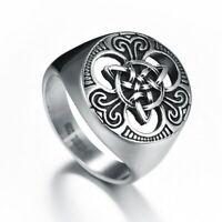 Tribal Spirit Ring Edelstahl Triqueta Kelten Keltisch Männerring Siegelring