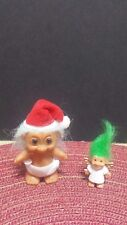 ~ RUSS TROLL DOLL Lot/2 CHRISTMAS ANGEL Santa ORNAMENT COLLECTIBLE TROLLS DOLLS