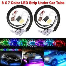 2 Sets 7 Color LED Strip Under Car Tube Underglow Sound-Activated Neon Lights US
