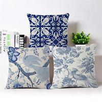 "18"" Blue and White Cotton Linen Throw Pillow Case Cushion Cover Home Decor"