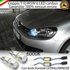 COPPIA LUCI DI POSIZIONE A 6 LED VW GOLF 6 T10 W5W CANBUS ULTRALUMINOSI 400 LM