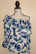 ♥♥ MODALAND ♥♥ blouse top fleuri volants épaules nues L ou 40-42 NEUF