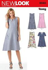 NEW LOOK SEWING PATTERN EASY TRAPEZE SHAPED SWING DRESS SIZE 8 - 20 6340