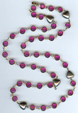 SWAROVSKI VINTAGE SILVER HEARTS & BEZEL SET HOT PINK CRYSTALS NECKLACE
