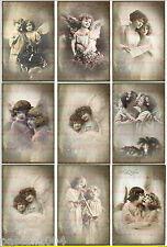 9 Bügelbilder Vintage Mädchen Foto  Engel Nostalgie DIN A4  NO. 1146  Transfer