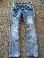 Rock Revival Themis Boot Leather Trim Distress Embellished Men's Denim Jeans 31