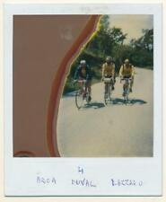 Bad processed Polaroid - 3 cyclists - vintage color photo mistake