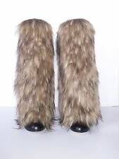 NEW Awesome Faux Fur Leg Muffs boot-covers leggings warmers brown Burning Man