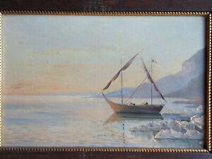 TABLEAU Peinture huile toile Marine port lac léman suisse savoie bateau lausanne