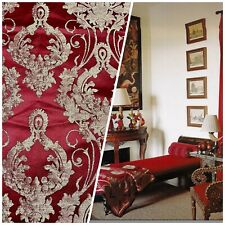 NEW Designer Damask Satin Drapery Upholstery Fabric - Dark Red