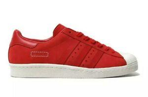 NEW MEN adidas ORIGINALS SUPERSTAR 80S URBAN RETRO STYLE RED LEATHER SHOES SZ 9
