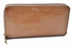 Authentic Louis Vuitton Vernis Zippy Wallet Purse Long Wallet Beige LV C8344