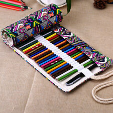 36 Holes Canvas Pencil Case Roll Up School Supplies Material Escolar