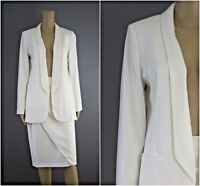 ex Jacques Vert Ivory Long Line Tuxedo Jacket Skirt Suit RRP218 Occasion Wedding