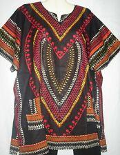 Mens Womens Unisex Top Shirt Dashiki Black Red Cotton Free Size Fits  2X to 3X