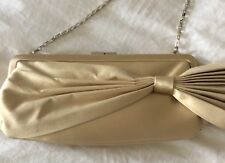 Coast gorgeous champagne soft gold clutch bag pleated & bow new wedding/races