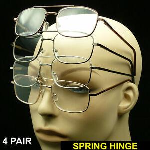 Reading glasses men large lens 4 pair pack metal pilot spring hinge temple new