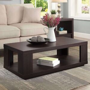 Steele Coffee Table with Spacious Lower Shelf, Espresso Finish