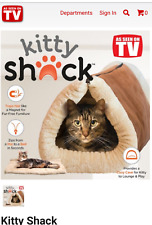Kitty Shack Brown and Beige Fur Mat Tunnel Bed Cozy Cave Lounger for Cat Kitten