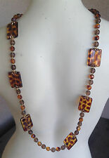 Joan Rivers Signed Necklace QVC #13 Faux Amber Long Animal Print Leopard Cheetah