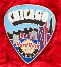 Hard Rock Cafe Pin CHICAGO Postcard GUITAR PICK Series SKYLINE Facade building