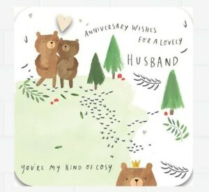 Hallmark Husband anniversary Card Bears Design