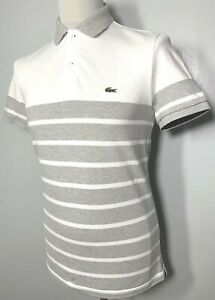 Mens Lacoste White Grey Striped Polo Shirt Size S *Exclusive* 9-404