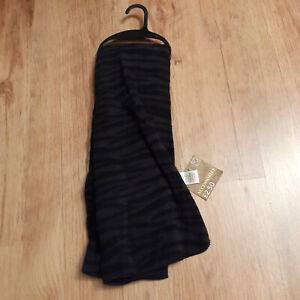 Black/grey fleece animal print / tiger stripe scarf. Unisex. New with tags.
