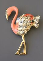 Flamingo  brooch  In enamel on gold Tone Metal