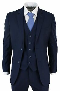 Men Slim Fit Suit Blue 3 Piece Work Office or Wedding Grooms Party Wear Suits