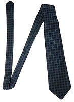 Vintage Christian Dior Paris 100% Men's Silk Neck Tie Blue Grid Made In France