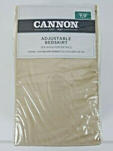 Cannon Solid Adjustable Bedskirt Bed Skirt  Twin/Full  - KHAKI New Never Opened