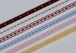 12mm Embroidered Floral Ribbon Trim per metre
