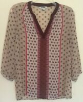 Old Navy Womens Size Small Blouse Sheer Ivory Pullover Top Pink Red