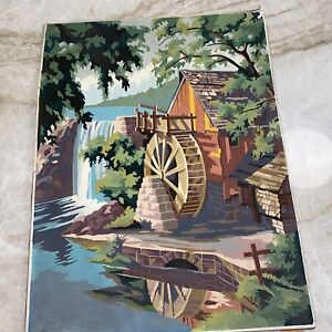 Paint By Number Old Mill, PBN Mill Waterfall Landscape, Vintage 1960, Large Oil