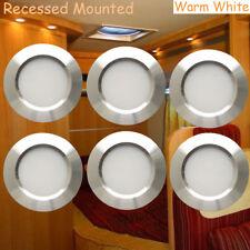 6X12 Volt Interior RV Trailer Warm White LED Recessed Under Cabinet Light Silver