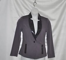 Bob Mackie One Button Ponte Knit Blazer with Sequin Detail Size S Grey