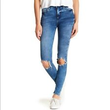 Free People NWT Skinny Jeans Sz 26L Womens Turquoise Denim Busted Knee High Rise